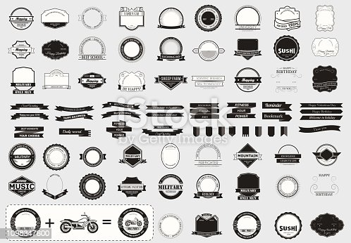 Make your labels or symbol concept set. Retro typography, badges, symbols, borders, ribbons, emblem, stamp, and objects Vector design templates