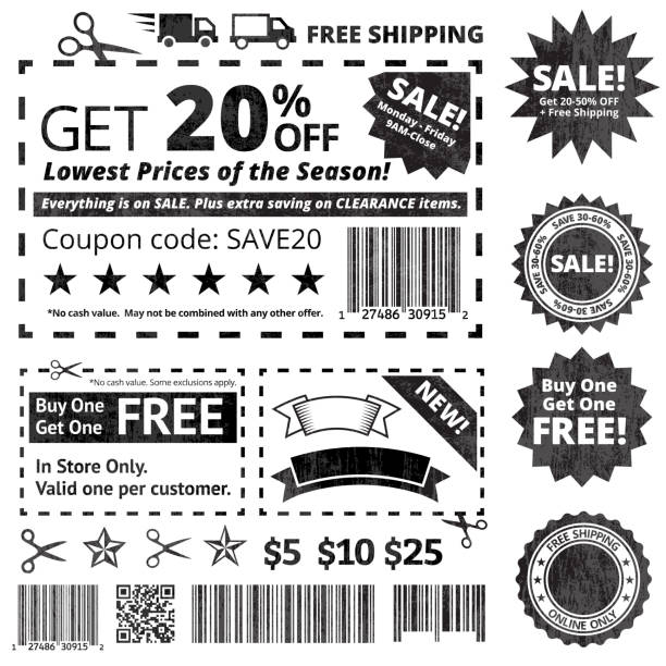 Make Your Own Coupon Sale black and white icon set Make Your Own Coupon Sale Black and White Set pattern stock illustrations