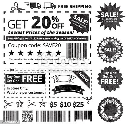 Make Your Own Coupon Sale Black And White Icon Set Stock