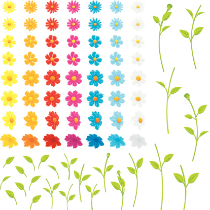 Various separate flowers, leaves and stems to make your own flowers.