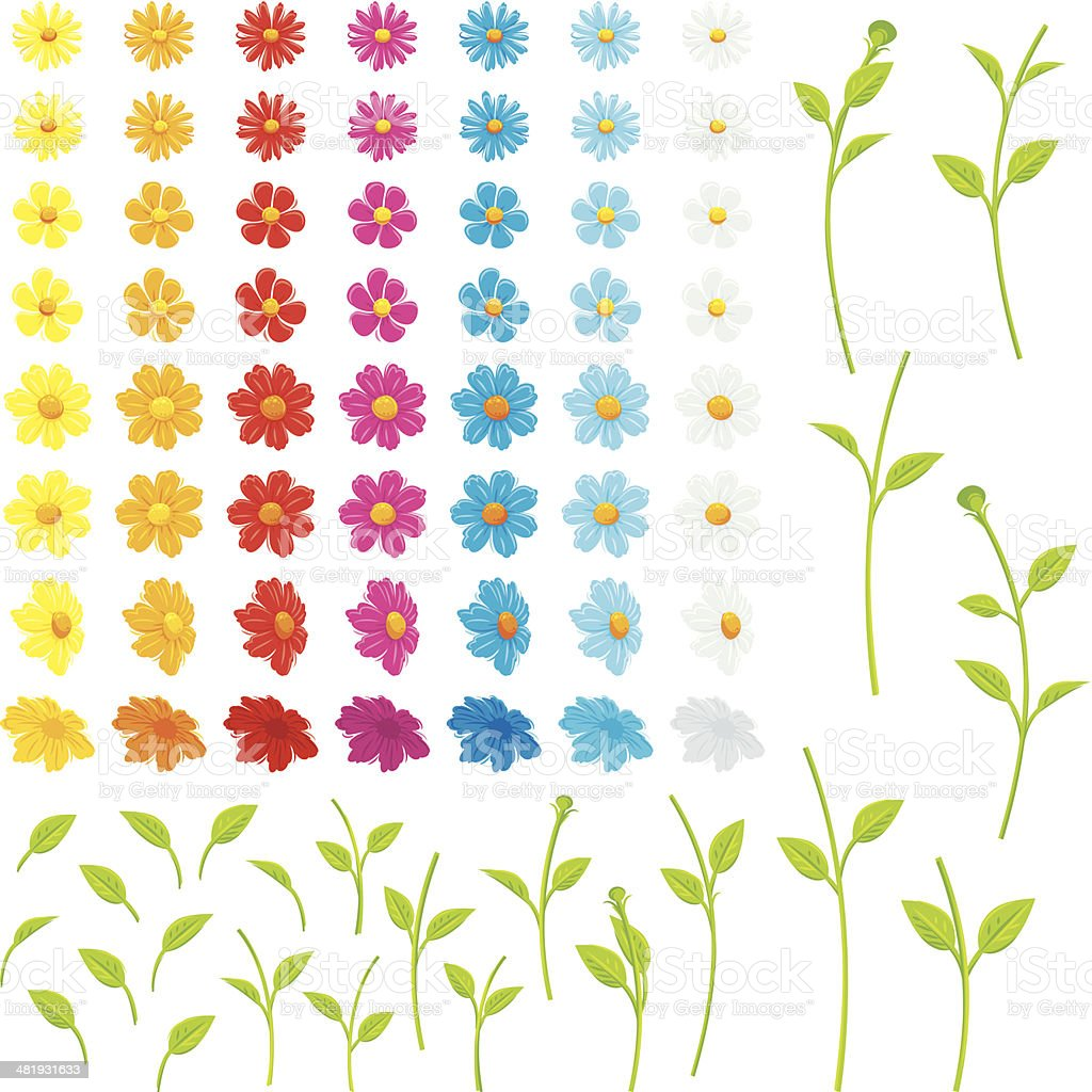 Make your own flowers vector art illustration