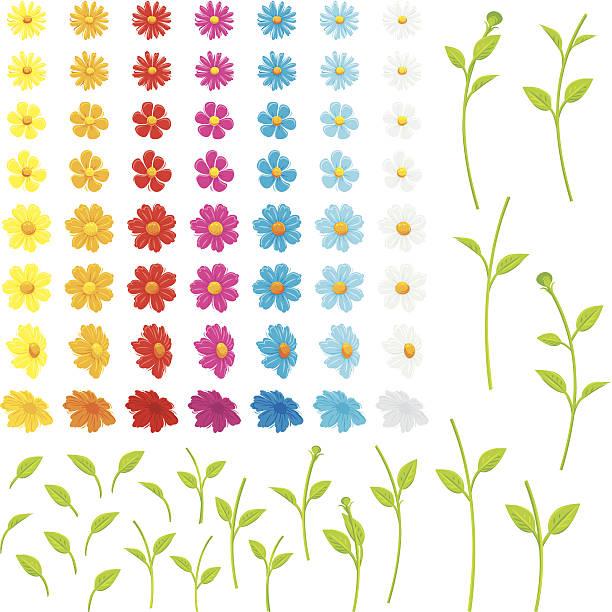 make your own flowers - plant stem stock illustrations