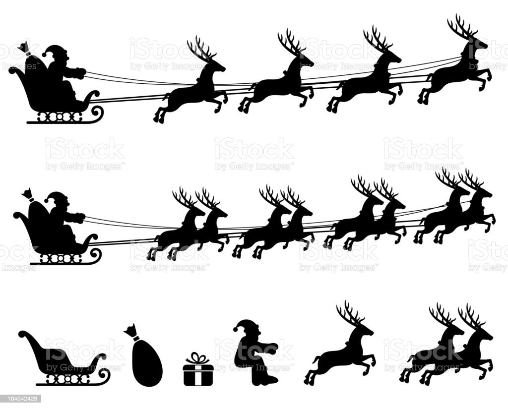 Make your own Santa Sleigh black & white icon set. royalty-free stock vector art
