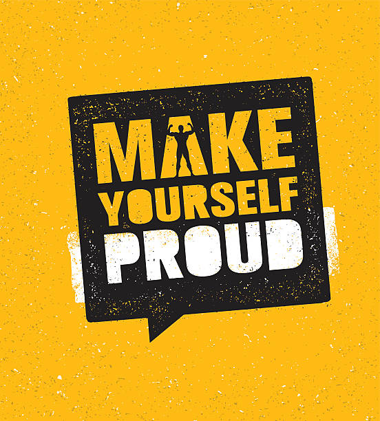 stockillustraties, clipart, cartoons en iconen met make yourself proud. workout gym motivation sign vector template - gym