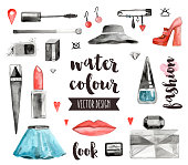 Premium quality watercolor icons set of makeup products, female beauty accessories. Hand drawn realistic vector decoration with text lettering. Flat lay watercolour objects isolated on white background.