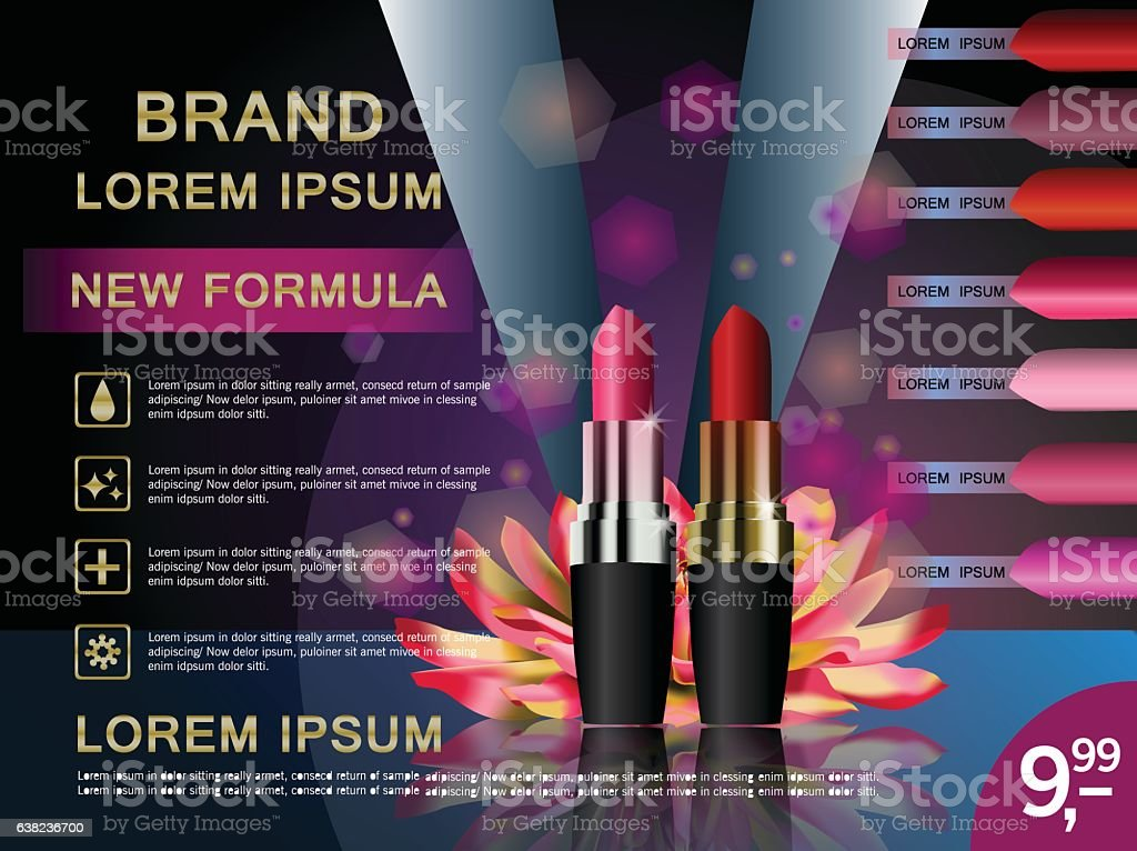Makeup Ads Template Charming Red Lipstick Mockup With Sparkling ...