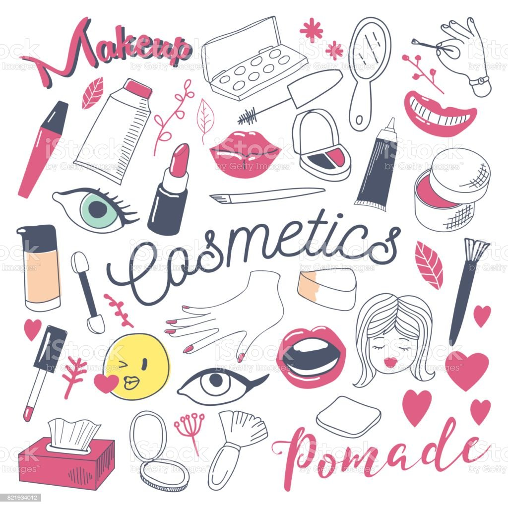 Makeup and Cosmetics Beauty Freehand Doodle vector art illustration