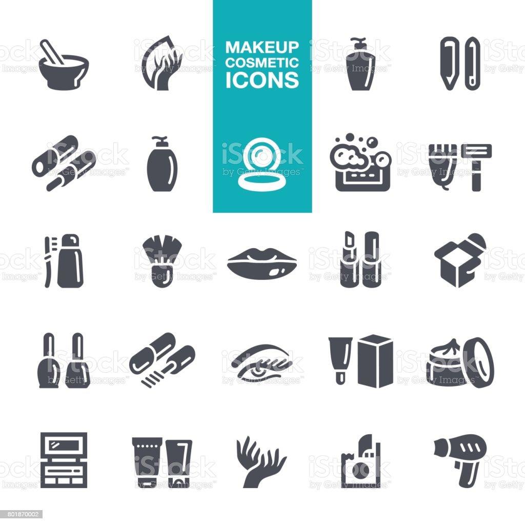 Iconos de maquillaje y cosméticos - ilustración de arte vectorial