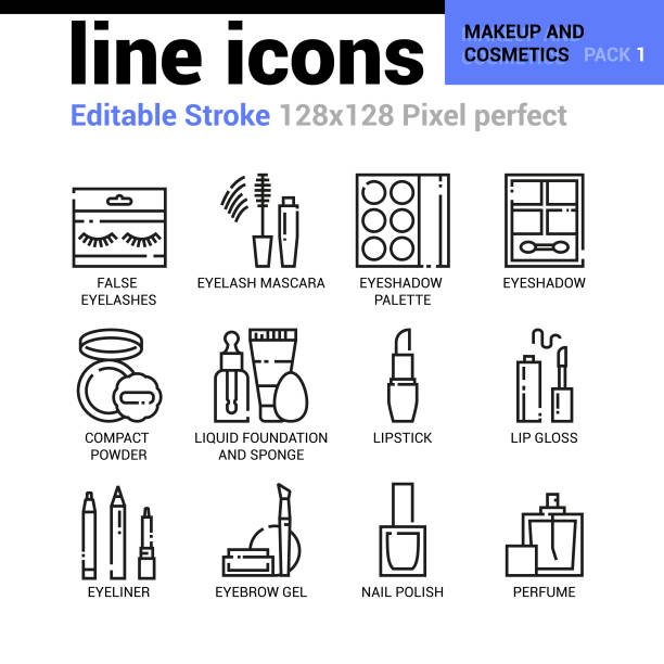 makeup and cosmetics line icons - editable stroke, pixel perfect thin line vector icons for web design and website application. - błyszczyk stock illustrations