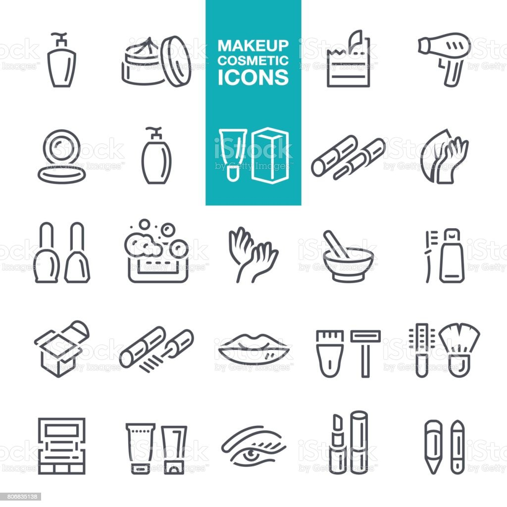 Makeup and Cosmetics line icons vector art illustration