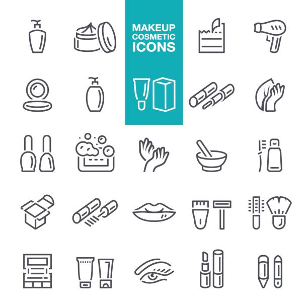 makeup and cosmetics line icons - beauty stock illustrations, clip art, cartoons, & icons