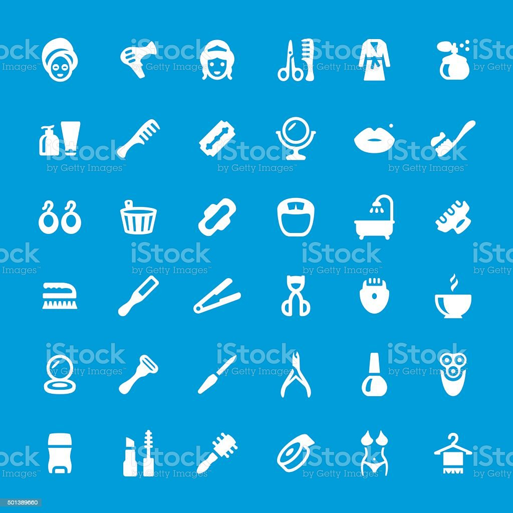 Makeup and Cosmetics related vector icon set vector art illustration