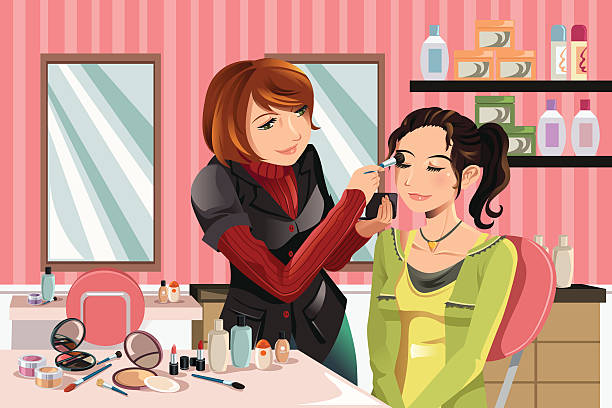 bildbanksillustrationer, clip art samt tecknat material och ikoner med makeup artist at work - makeup artist