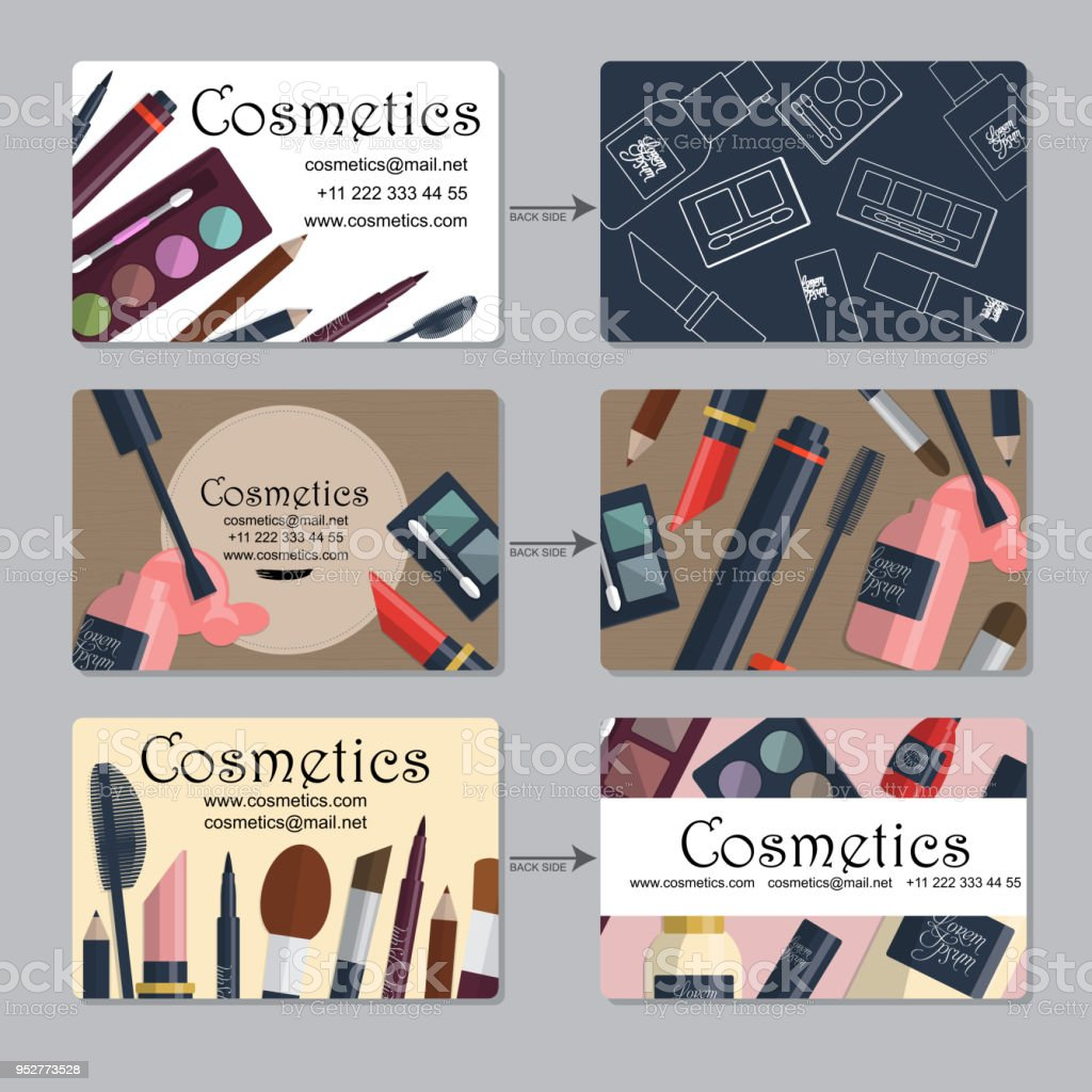 Makeup Artist Business Card Set Of Cosmetics For Your Design Vector ...