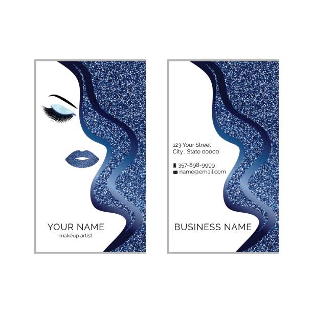 bildbanksillustrationer, clip art samt tecknat material och ikoner med makeup artist visitkort vector mall - makeup artist