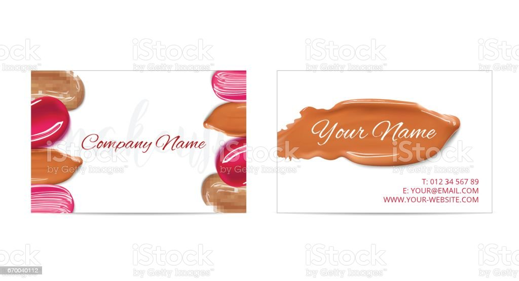 Makeup Artist Business Card Vector Template With Cosmetic Smears ...