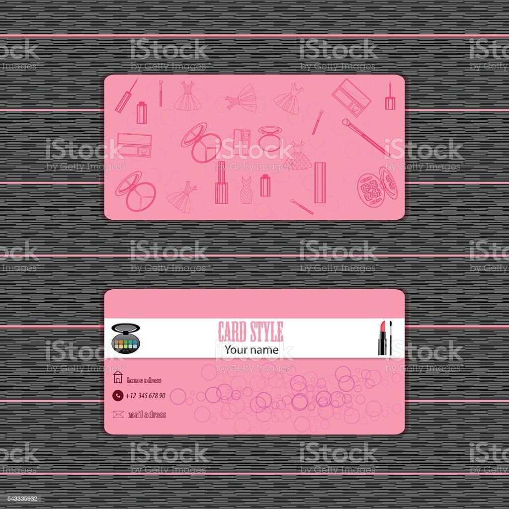 makeup artist business card vector template with items pattern