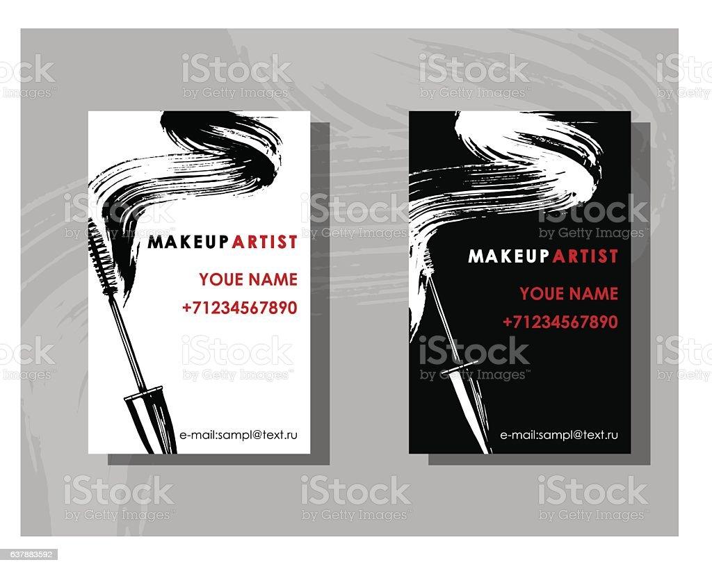 Makeup artist business card vector template with mascara stock makeup artist business card vector template with mascara royalty free makeup artist alramifo Image collections
