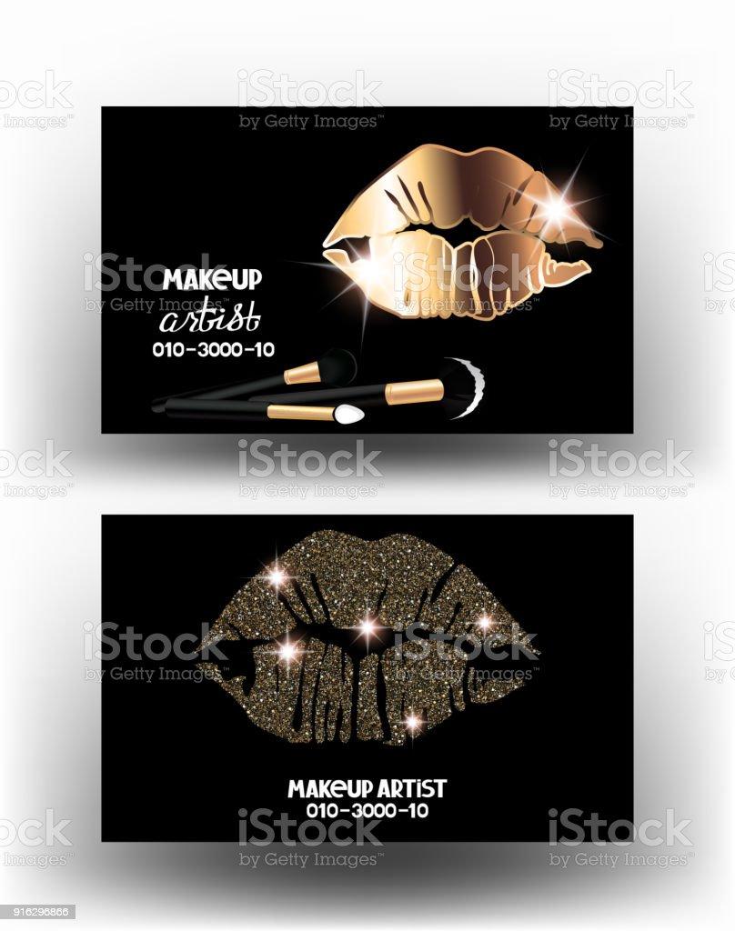 Maquillage Artiste Cartes De Visite Avec Les Lvres La Femme Illustration Vectorielle