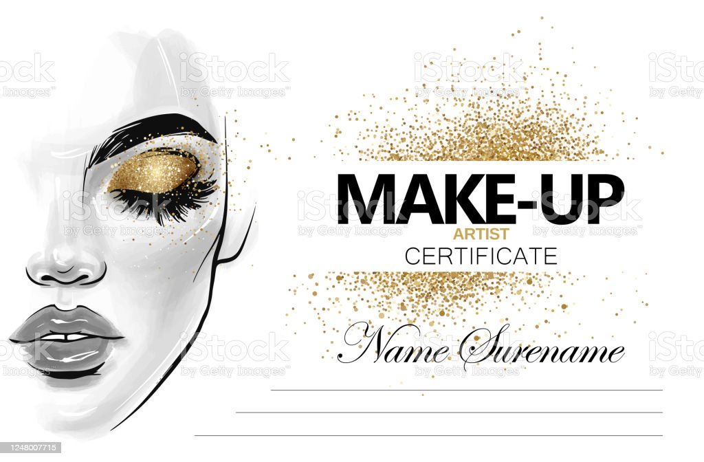 certificate diploma template adult makeup anthropomorphic adults golden lashes