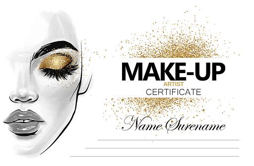 Make-up artist certificate. Beauty school diploma vector design template.