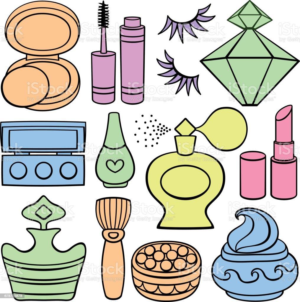 Fournitures de maquillage, de beauté et de mode. fournitures de maquillage de beauté et de mode – cliparts vectoriels et plus d'images de accessoire libre de droits