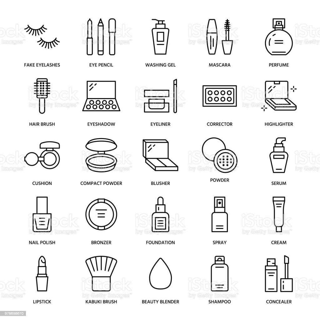 Makeup beauty care flat line icons. Cosmetics illustrations of lipstick, mascara, powder, eyeshadows cushion foundation, nail polish, hair brush shampoo. Thin signs for make up store Editable Strokes