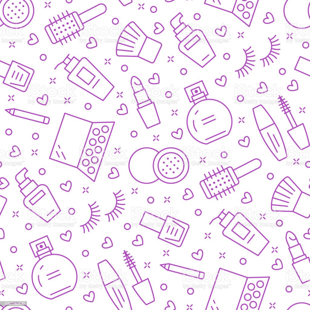Makeup beauty care purple seamless pattern with flat line icons. Cosmetics illustrations of lipstick, mascara, perfume, eyeshadows, nail polish. Cute repeated background wallpaper signs make up store