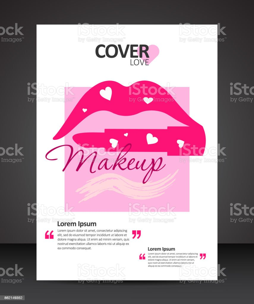makeup beauty cover design template with lips and lipstick stock