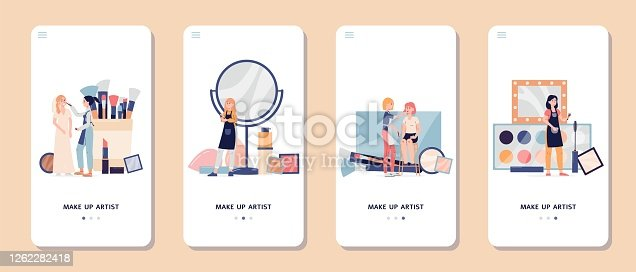 Makeup beauty visage artist services application, flat vector illustration isolated on white background. Cosmetic salon mobile onboarding page templates set.