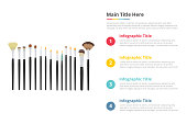 makeup brush tools infographics template with 4 points of free space text description - vector illustration