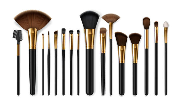 Makeup brushes, eyebrow comb. Make-up artist kit Makeup brush vector mockups of beauty cosmetics 3d design. Blush, eyeshadow and contour, eyebrow comb, foundation, concealer and bronzer, angle, fan and flat realistic brushes, make up artist kit make up brush stock illustrations