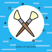 Makeup Brushes Thin Line Arts Icon