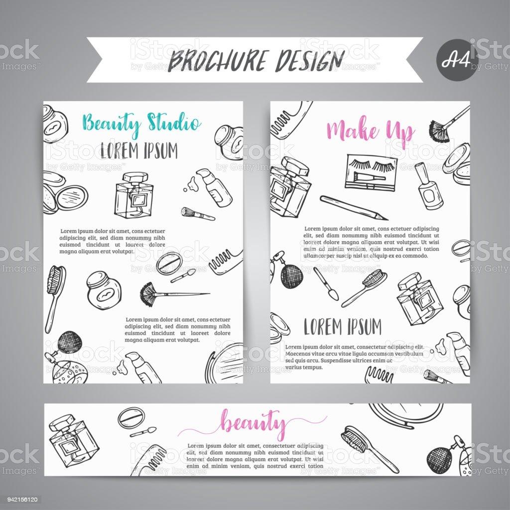 Makeup Business Broschüre Und Banner Kosmetikartikel Anzeige Für ...