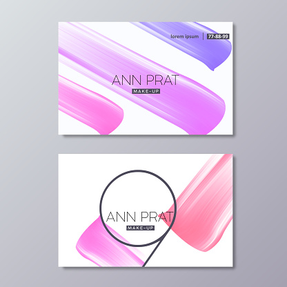 Makeup business card templates with colorful vector Abstract Smear