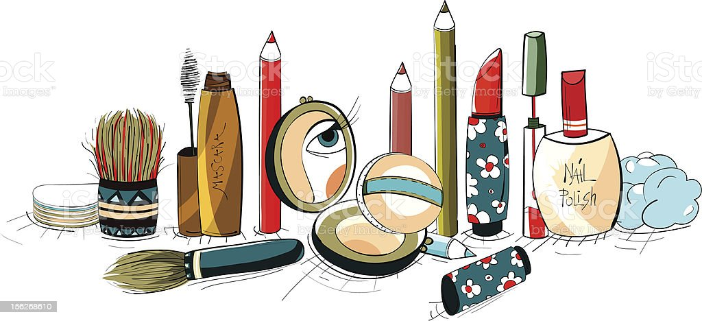 Makeup Collection Colorful Drawing Stock Illustration Download