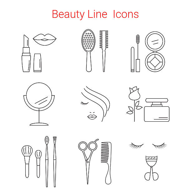 makeup, cosmetic and beauty vector line icons. - 美容室点のイラスト素材/クリップアート素材/マンガ素材/アイコン素材