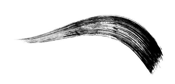 ilustrações, clipart, desenhos animados e ícones de make-up cosméticos rímel pincelada em branco. vector - planos de fundo borrados