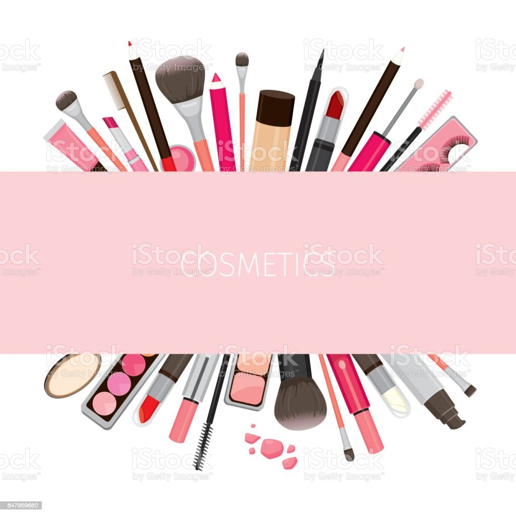 makeup cosmetics tools on banner stock vector art amp more