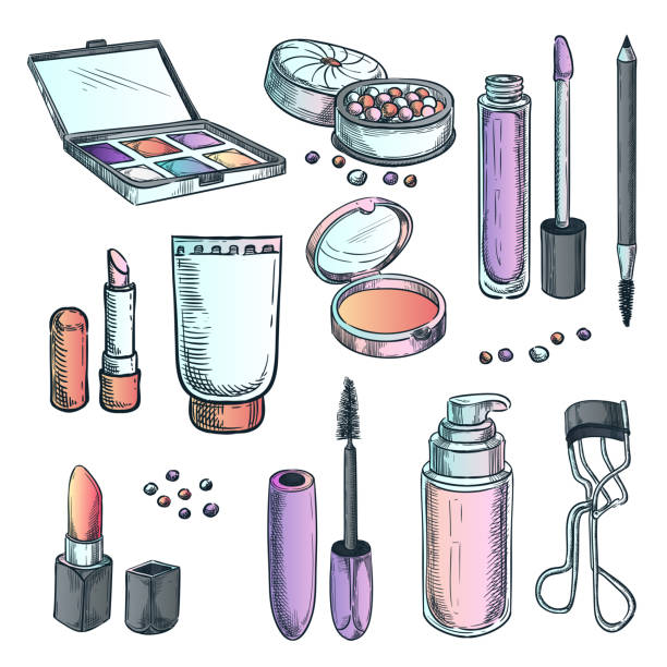 makeup cosmetics vector sketch illustration. female fashion design elements. hand drawn beauty and care products. - błyszczyk stock illustrations