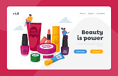 Makeup Courses, Make Up School Landing Page Template. Women Spend Time in Beautician Parlor. Female Characters in Beauty Salon. Cosmetics Masterclass Face Care. Cartoon People Vector Illustration
