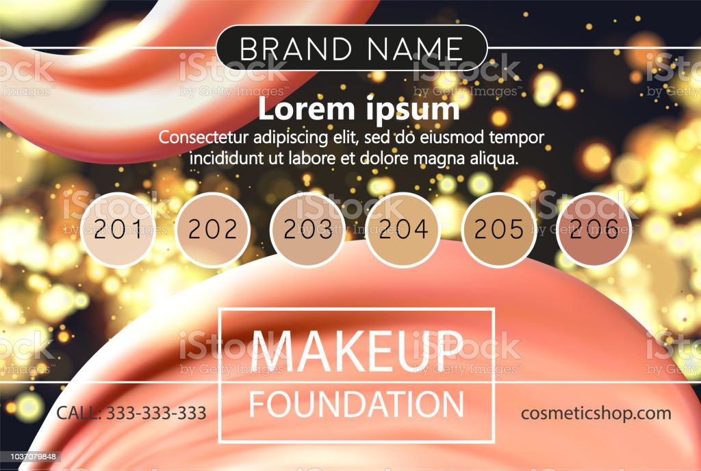 Makeup Design Template For Cosmetic Flyer Makeup Artist Studio Or Cosmetics Shop Site Header Business Card Brochure And Banner Foundation Smear Fashion Cosmetics On Dark Horizontal Background Stock Illustration Download Image