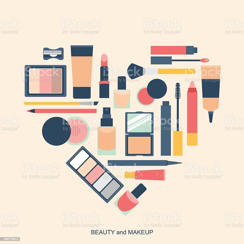Makeup elements heart shape vector art illustration