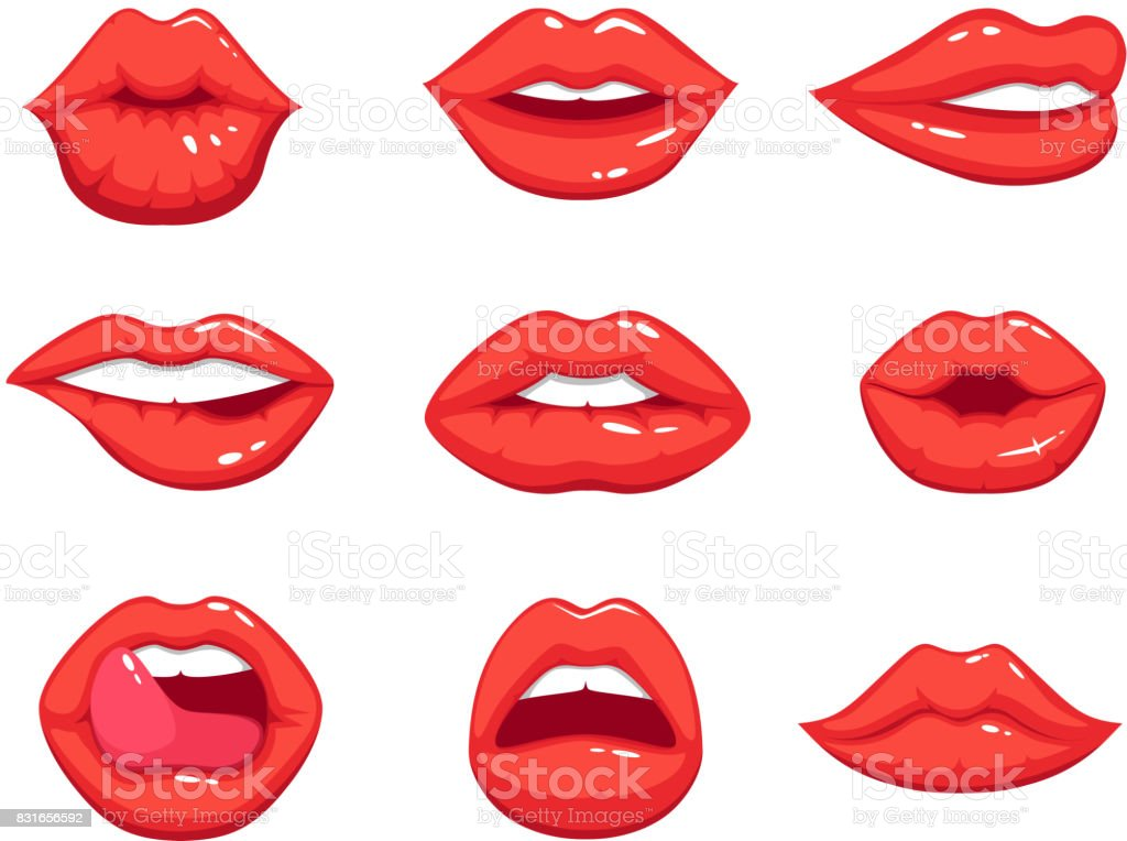 Makeup illustrations in cartoon style. Beautiful smiling sexy female lips vector art illustration