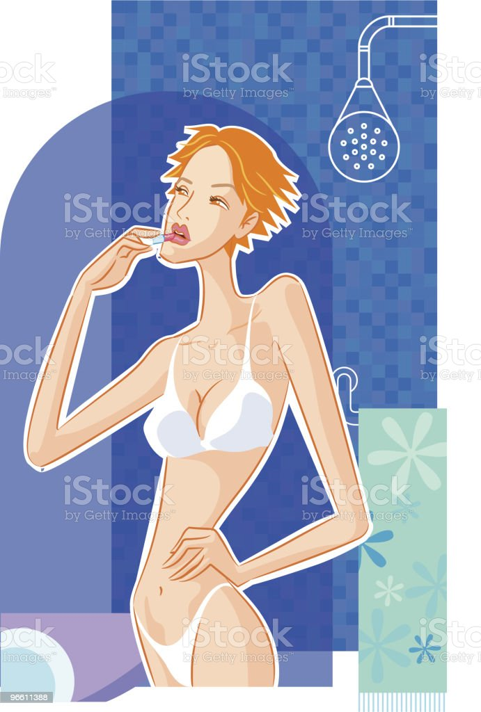 makeup in bathroom - Royalty-free Adult stock vector