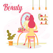 Beautiful Makeup Services in Women Beauty Salon Flat Vector Banner, Poster Template with Red-Hear Woman Sitting at Make-Up Table with Illuminated Bulb Lamps Mirror and Using Cosmetics Illustration