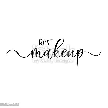 istock Makeup. Inspirational quote handwritten with ink and brush on acrylic stain. Concept for beauty salon, cosmetics label, cosmetology procedures, visage. Fashion design. Vector illustration. 1315078614