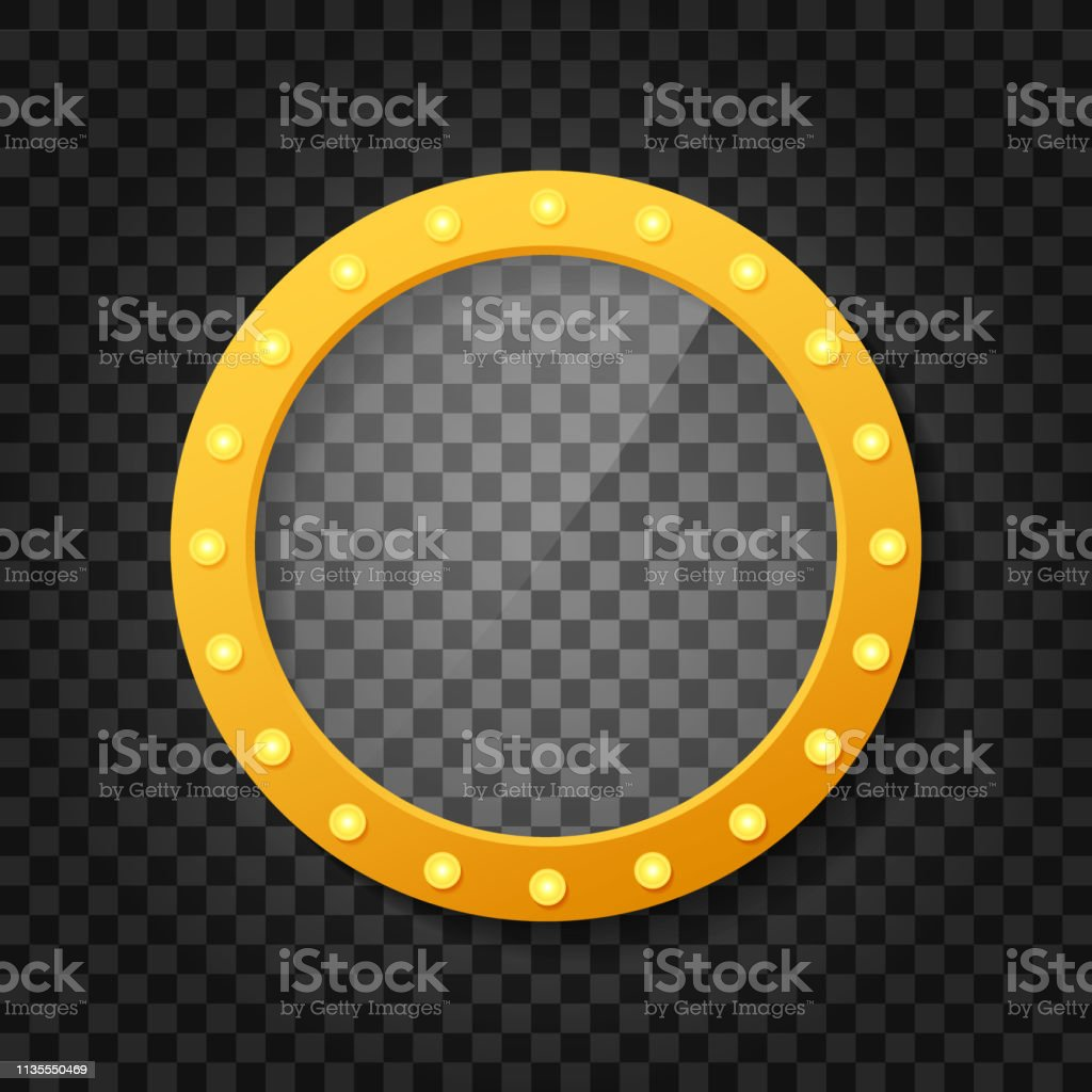 Makeup mirror isolated with gold lights. Mirrors frame with light...