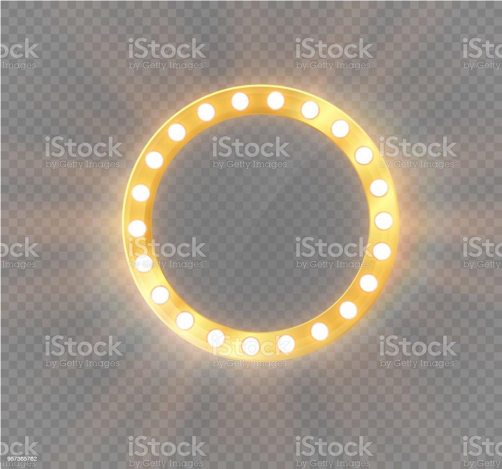 Maquillaje espejo aislado con luces de oro. Ilustración de vector - ilustración de arte vectorial