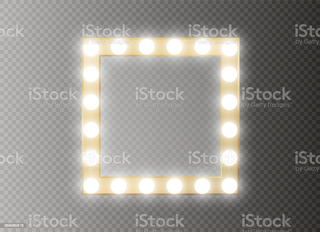 Make Up Spiegels : Makeupspiegel mit gold leuchten isoliert vektorillustration stock